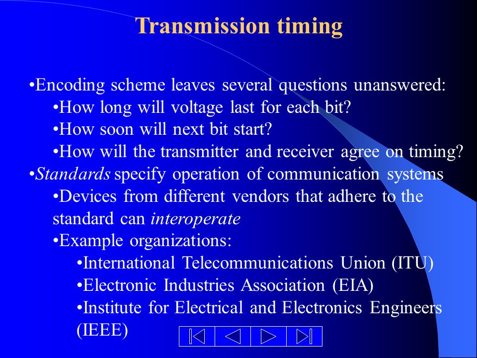 Transmission timing Encoding scheme leaves several questions unanswered: How long will voltage last for each bit.