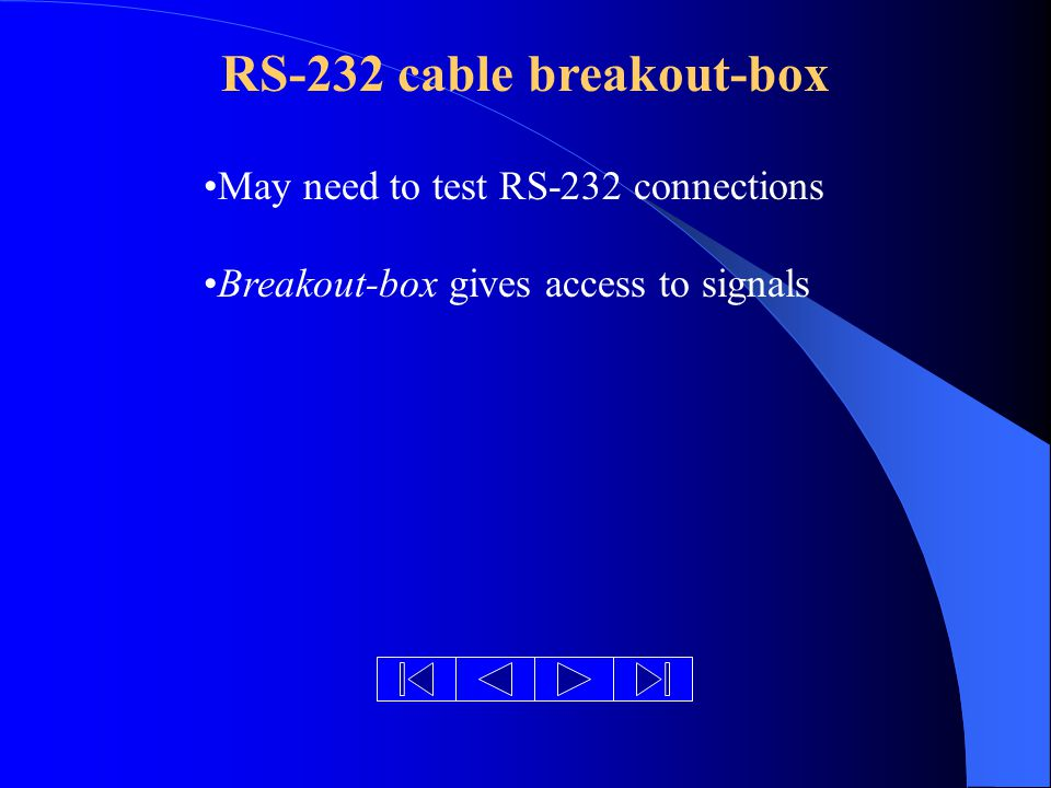 RS-232 cable breakout-box May need to test RS-232 connections Breakout-box gives access to signals