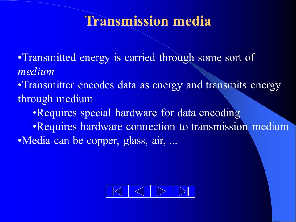 Transmission media Transmitted energy is carried through some sort of medium Transmitter encodes data as energy and transmits energy through medium Requires special hardware for data encoding Requires hardware connection to transmission medium Media can be copper, glass, air,...