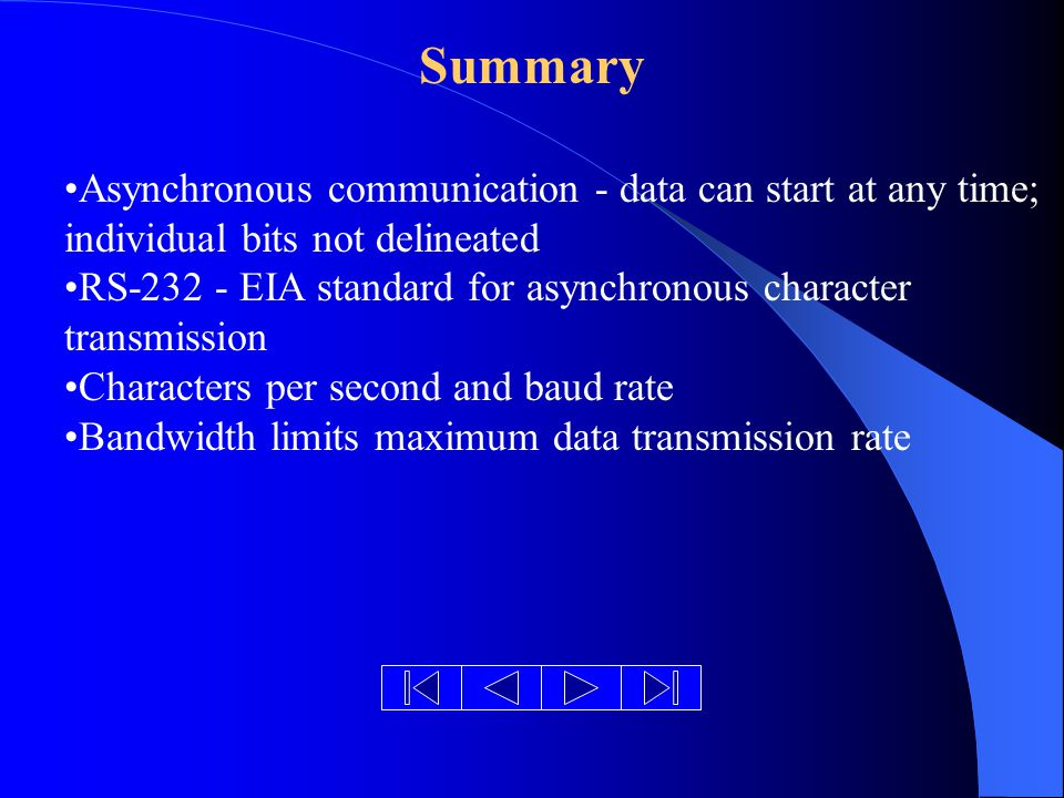 Summary Asynchronous communication - data can start at any time; individual bits not delineated RS EIA standard for asynchronous character transmission Characters per second and baud rate Bandwidth limits maximum data transmission rate
