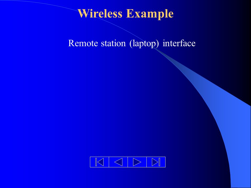 Wireless Example Remote station (laptop) interface