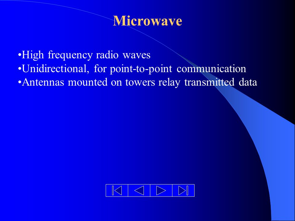 Microwave High frequency radio waves Unidirectional, for point-to-point communication Antennas mounted on towers relay transmitted data