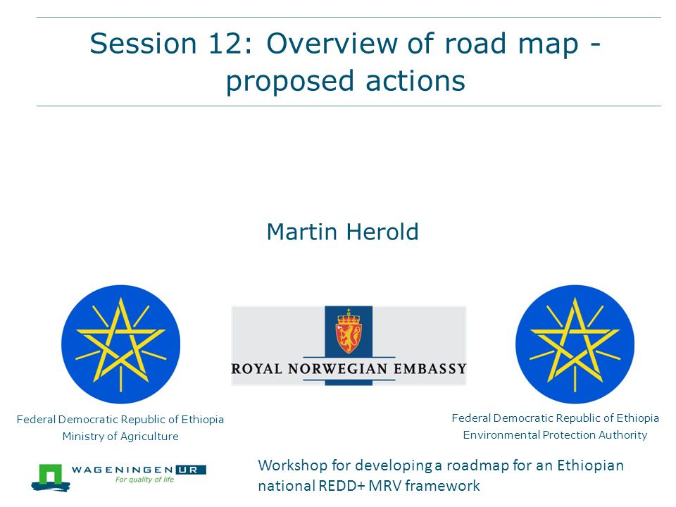 Session 12: Overview of road map - proposed actions Federal Democratic Republic of Ethiopia Ministry of Agriculture Federal Democratic Republic of Ethiopia Environmental Protection Authority Martin Herold Workshop for developing a roadmap for an Ethiopian national REDD+ MRV framework