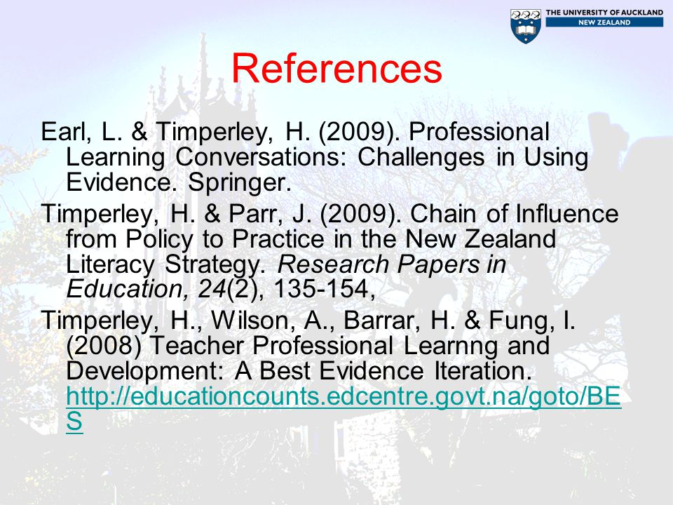 References Earl, L. & Timperley, H. (2009).