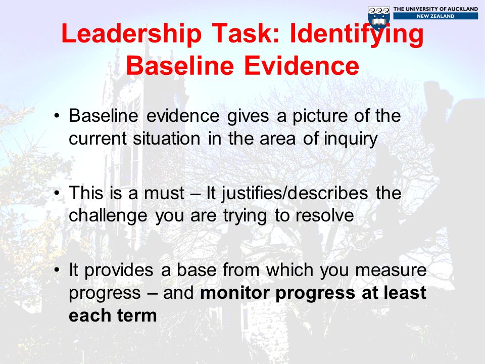 Leadership Task: Identifying Baseline Evidence Baseline evidence gives a picture of the current situation in the area of inquiry This is a must – It justifies/describes the challenge you are trying to resolve It provides a base from which you measure progress – and monitor progress at least each term