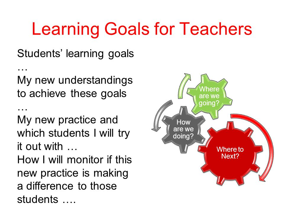 Learning Goals for Teachers Where to Next.How are we doing.
