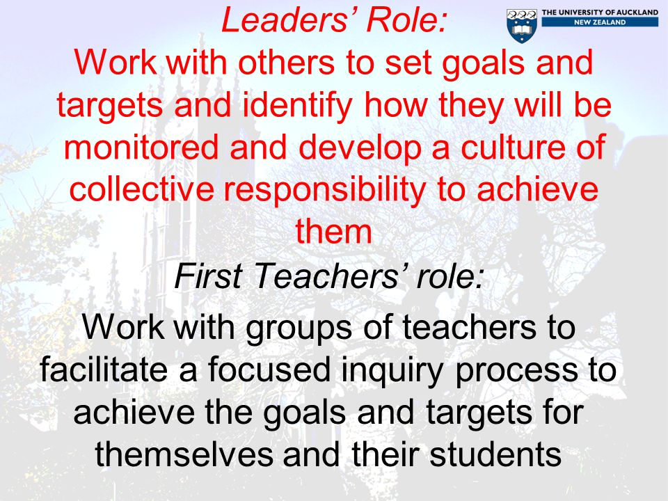 Leaders' Role: Work with others to set goals and targets and identify how they will be monitored and develop a culture of collective responsibility to achieve them First Teachers' role: Work with groups of teachers to facilitate a focused inquiry process to achieve the goals and targets for themselves and their students