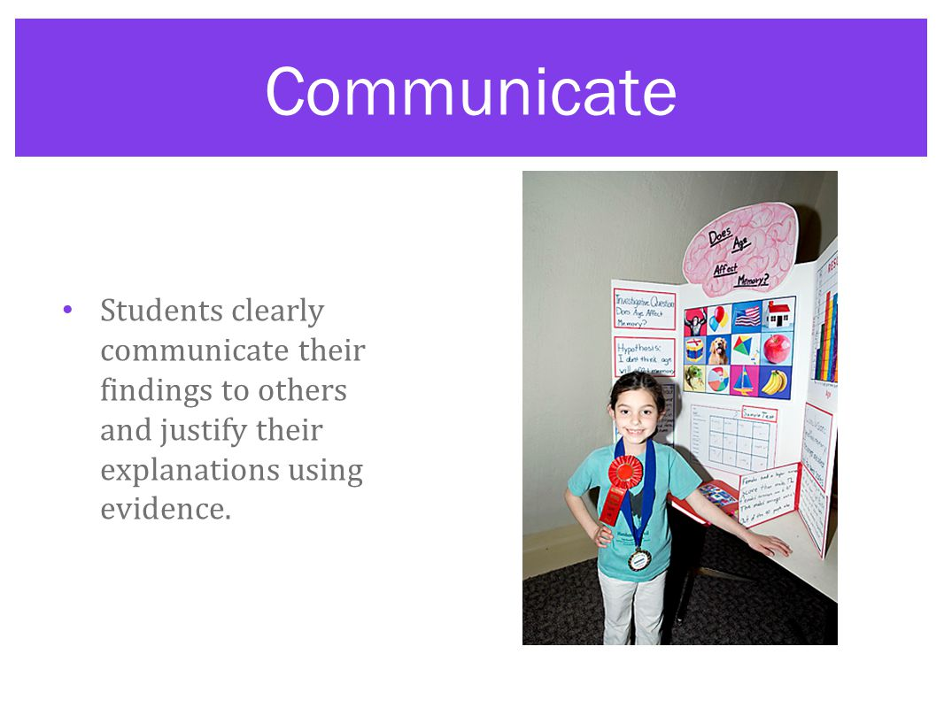 Communicate Students clearly communicate their findings to others and justify their explanations using evidence.