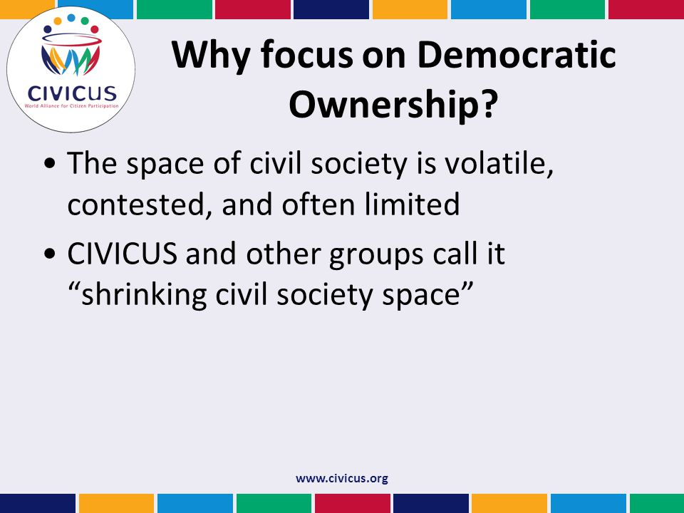 Why focus on Democratic Ownership.