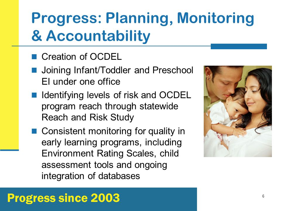 6 Progress: Planning, Monitoring & Accountability Creation of OCDEL Joining Infant/Toddler and Preschool EI under one office Identifying levels of risk and OCDEL program reach through statewide Reach and Risk Study Consistent monitoring for quality in early learning programs, including Environment Rating Scales, child assessment tools and ongoing integration of databases Progress since 2003