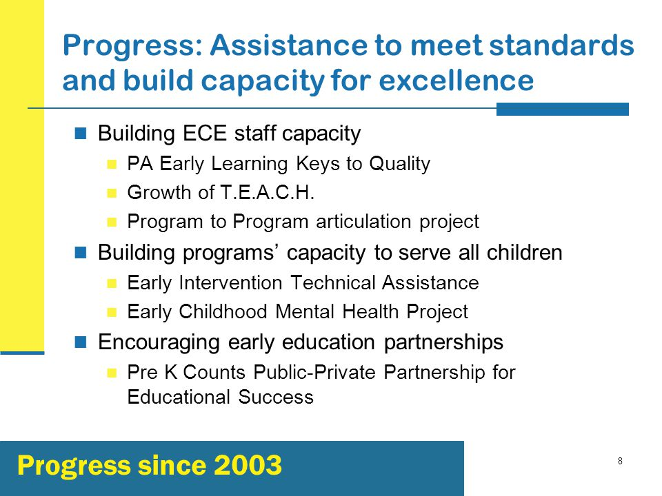 8 Progress: Assistance to meet standards and build capacity for excellence Building ECE staff capacity PA Early Learning Keys to Quality Growth of T.E.A.C.H.