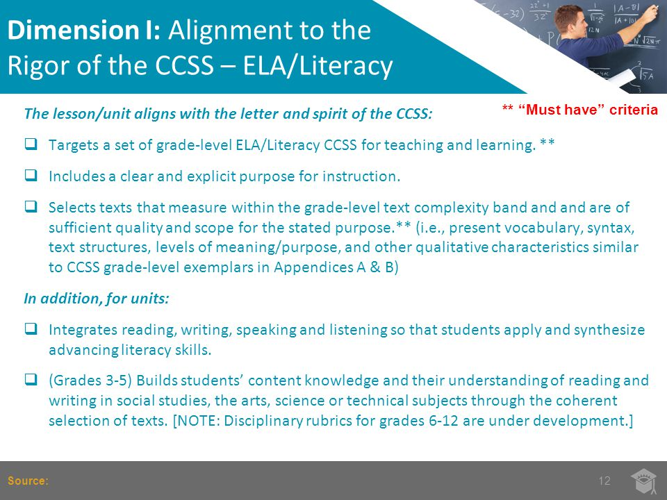 Dimension I: Alignment to the Rigor of the CCSS – ELA/Literacy 12Source: ** Must have criteria The lesson/unit aligns with the letter and spirit of the CCSS:  Targets a set of grade-level ELA/Literacy CCSS for teaching and learning.