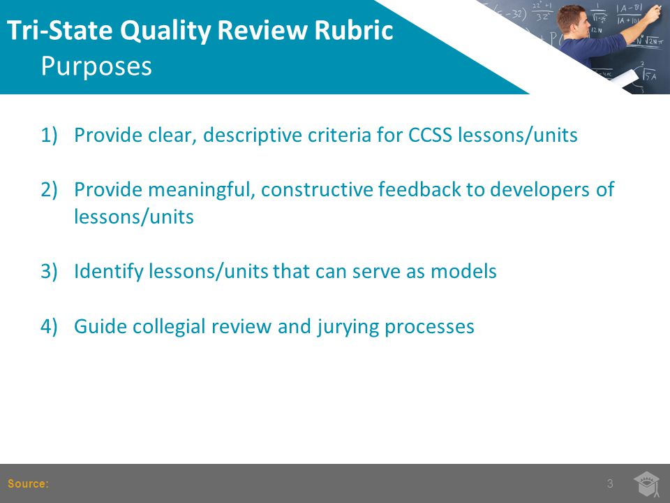 1)Provide clear, descriptive criteria for CCSS lessons/units 2)Provide meaningful, constructive feedback to developers of lessons/units 3)Identify lessons/units that can serve as models 4)Guide collegial review and jurying processes Tri-State Quality Review Rubric Purposes 3Source: