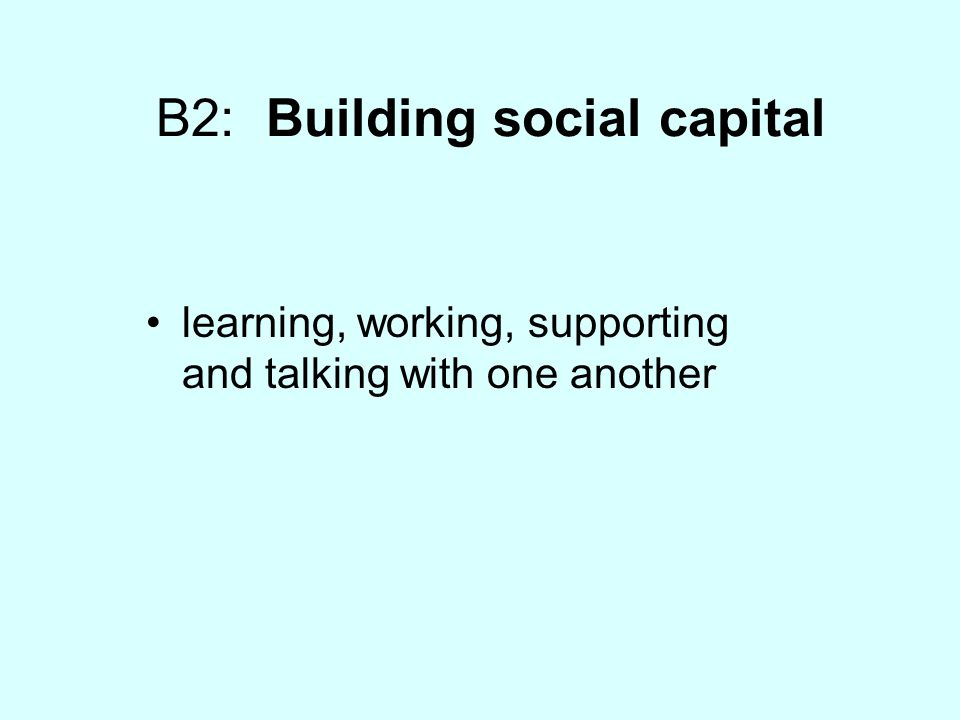 B2: Building social capital learning, working, supporting and talking with one another
