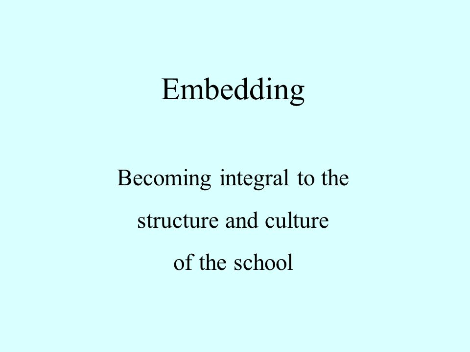 Embedding Becoming integral to the structure and culture of the school