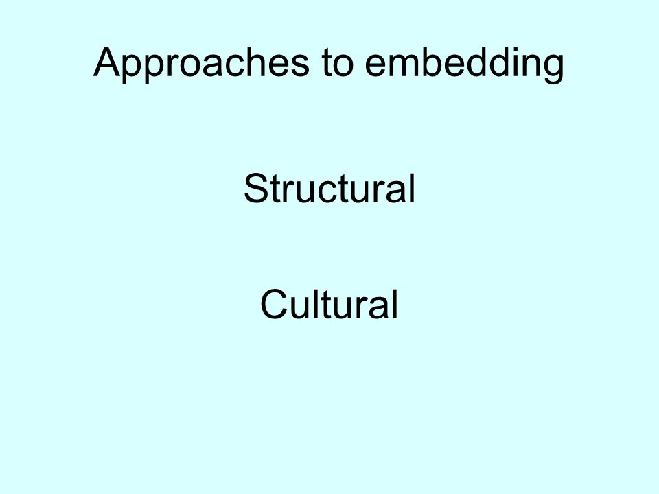Approaches to embedding Structural Cultural