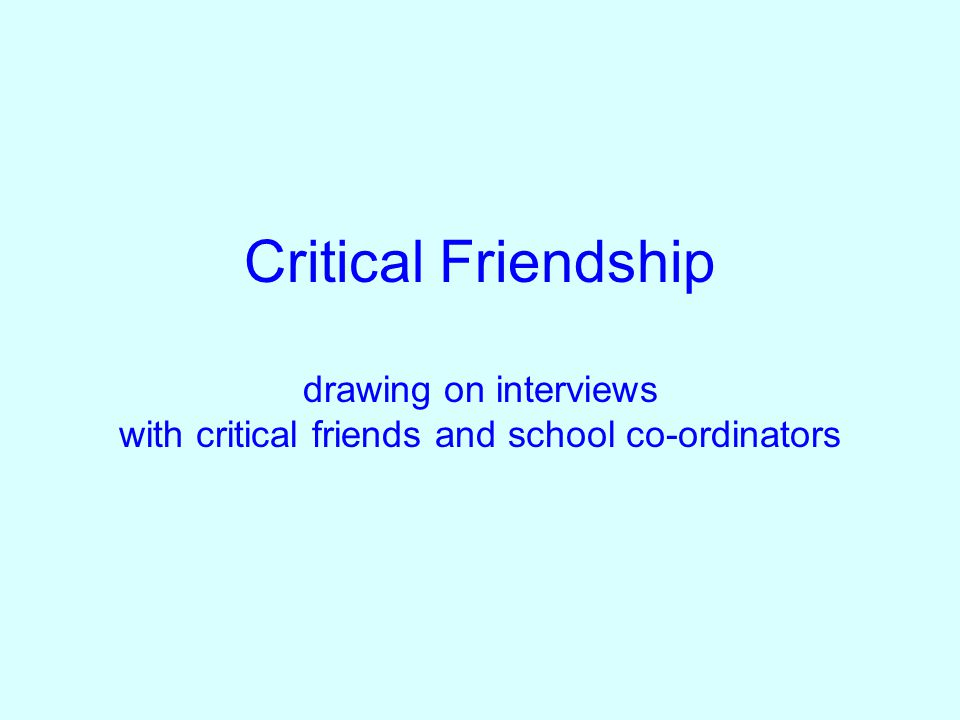 Critical Friendship drawing on interviews with critical friends and school co-ordinators