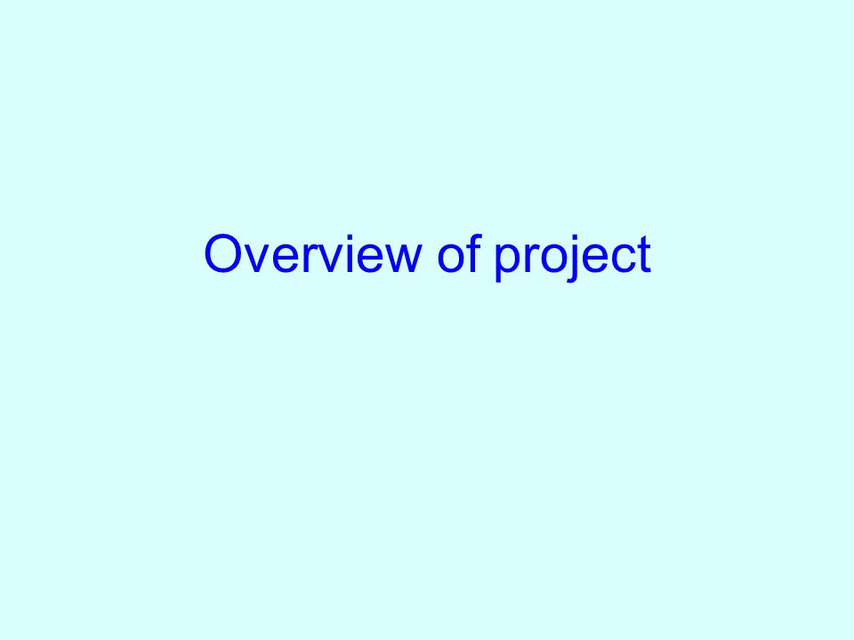Overview of project