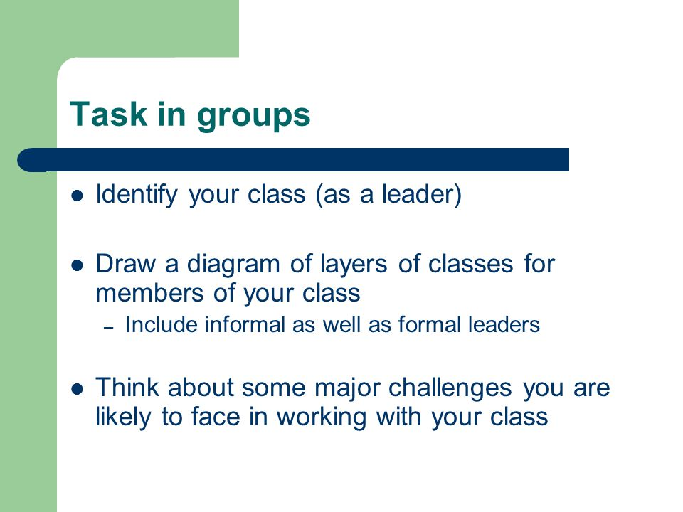 Task in groups Identify your class (as a leader) Draw a diagram of layers of classes for members of your class – Include informal as well as formal leaders Think about some major challenges you are likely to face in working with your class