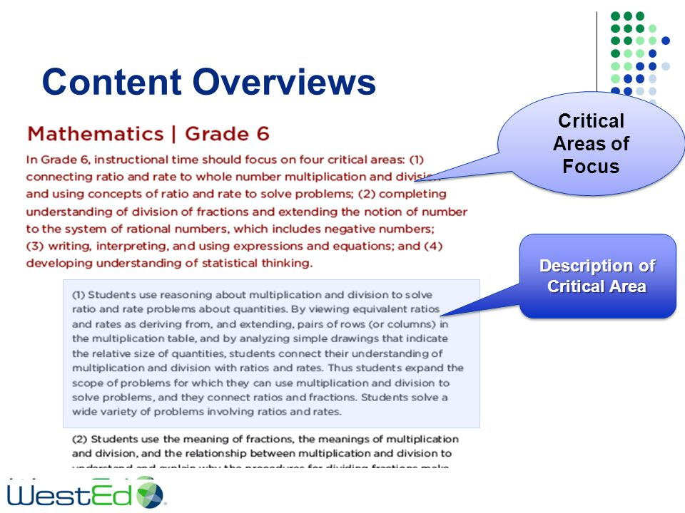 Content Overviews Critical Areas of Focus Description of Critical Area