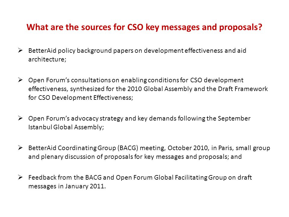What are the sources for CSO key messages and proposals.