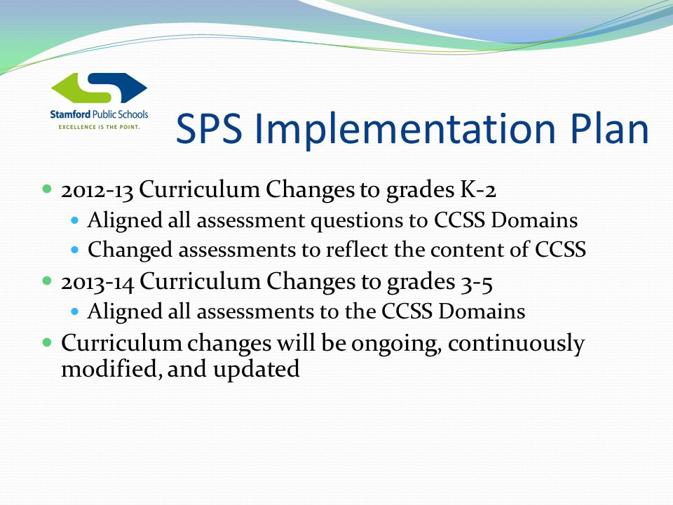 SPS Implementation Plan Curriculum Changes to grades K-2 Aligned all assessment questions to CCSS Domains Changed assessments to reflect the content of CCSS Curriculum Changes to grades 3-5 Aligned all assessments to the CCSS Domains Curriculum changes will be ongoing, continuously modified, and updated