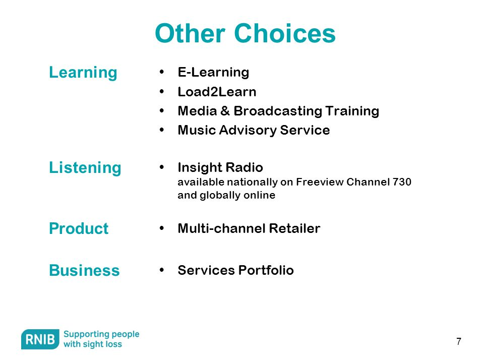 E-Learning Load2Learn Media & Broadcasting Training Music Advisory Service 7 Other Choices Learning Insight Radio available nationally on Freeview Channel 730 and globally online Listening Multi-channel Retailer Product Services Portfolio Business