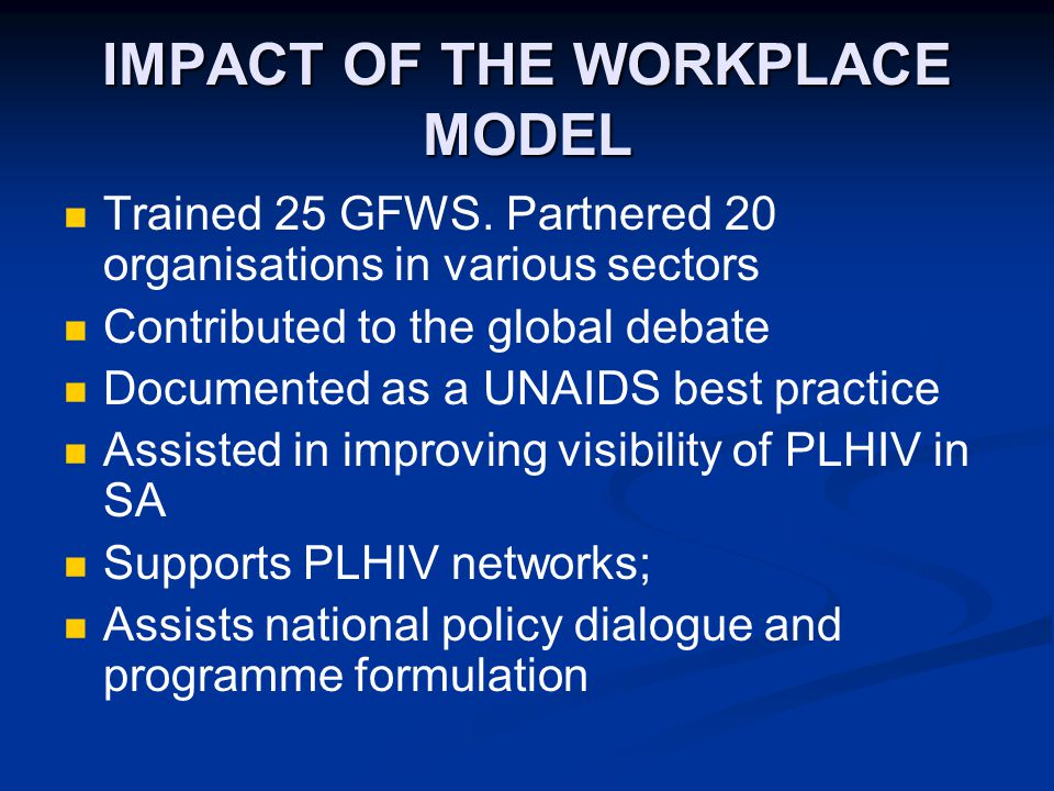 IMPACT OF THE WORKPLACE MODEL Trained 25 GFWS.