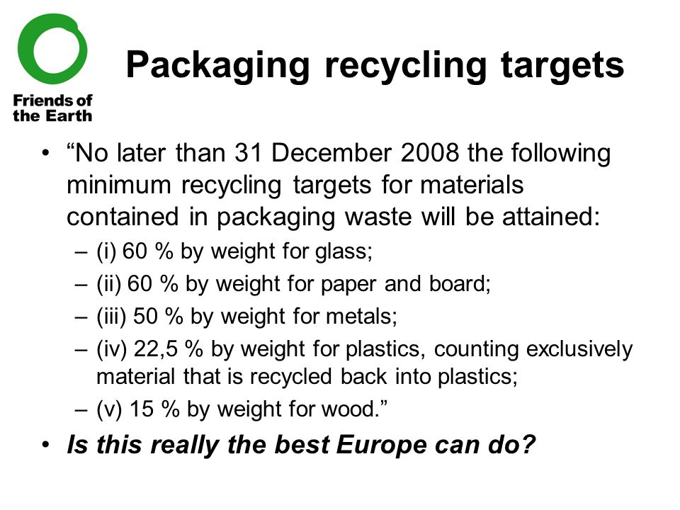Packaging recycling targets No later than 31 December 2008 the following minimum recycling targets for materials contained in packaging waste will be attained: –(i) 60 % by weight for glass; –(ii) 60 % by weight for paper and board; –(iii) 50 % by weight for metals; –(iv) 22,5 % by weight for plastics, counting exclusively material that is recycled back into plastics; –(v) 15 % by weight for wood. Is this really the best Europe can do