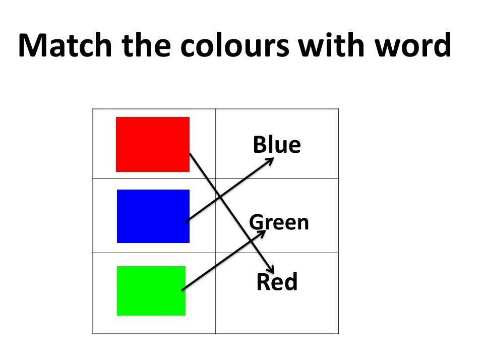 Blue Green Red Match the colours with word