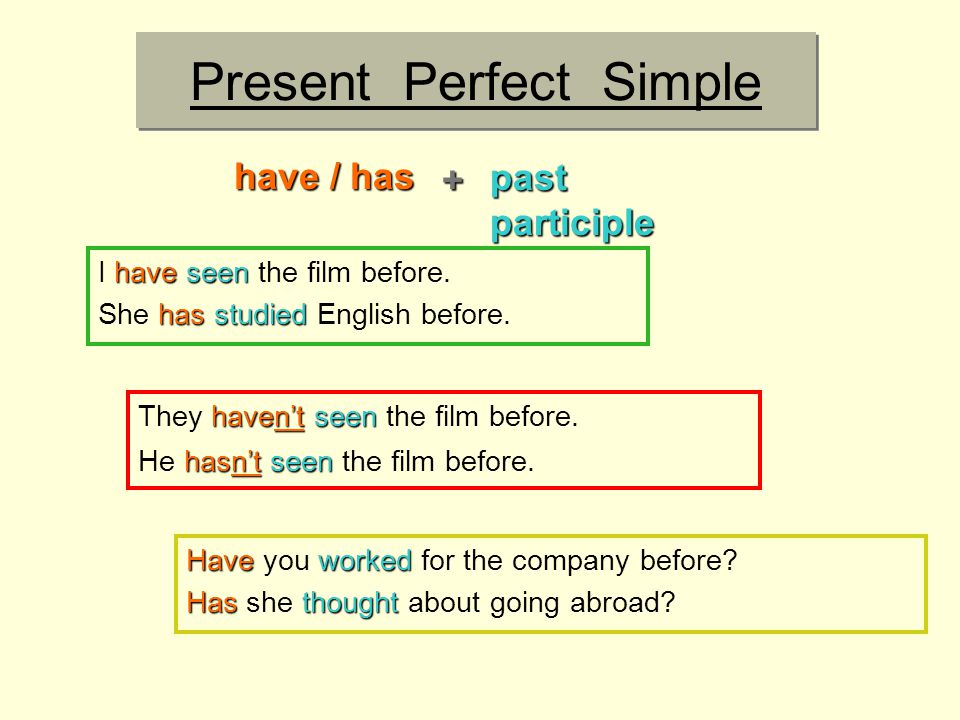 Present Perfect Simple Haveworked Have you worked for the company before.