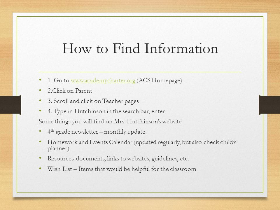 How to Find Information 1.