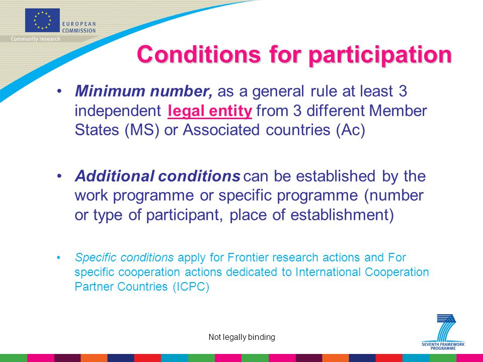 Not legally binding Conditions for participation Minimum number, as a general rule at least 3 independent legal entity from 3 different Member States (MS) or Associated countries (Ac) Additional conditions can be established by the work programme or specific programme (number or type of participant, place of establishment) Specific conditions apply for Frontier research actions and For specific cooperation actions dedicated to International Cooperation Partner Countries (ICPC)