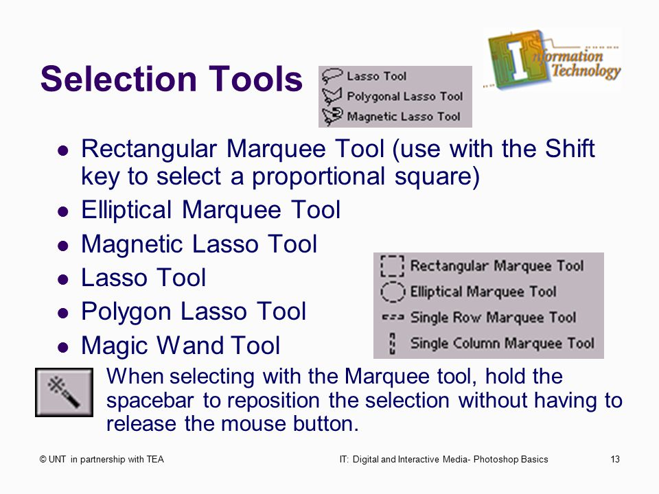 Selection Tools © UNT in partnership with TEAIT: Digital and Interactive Media- Photoshop Basics13 Rectangular Marquee Tool (use with the Shift key to select a proportional square) Elliptical Marquee Tool Magnetic Lasso Tool Lasso Tool Polygon Lasso Tool Magic Wand Tool When selecting with the Marquee tool, hold the spacebar to reposition the selection without having to release the mouse button.