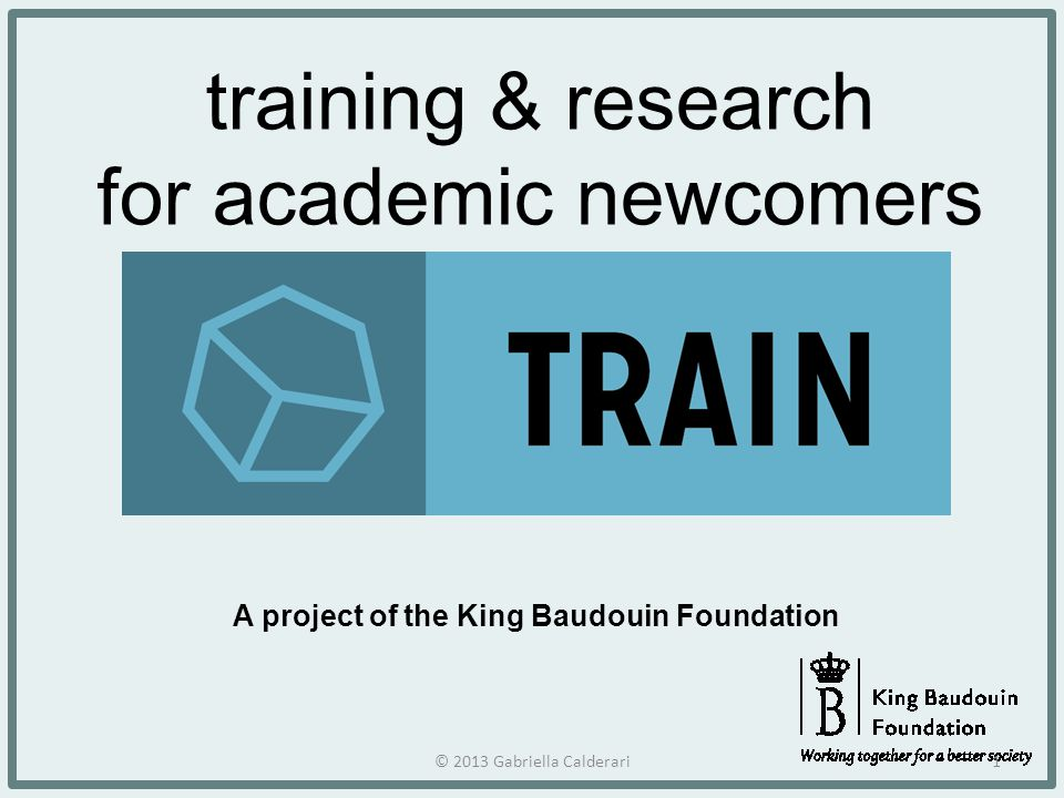 training & research for academic newcomers A project of the King Baudouin Foundation © 2013 Gabriella Calderari1