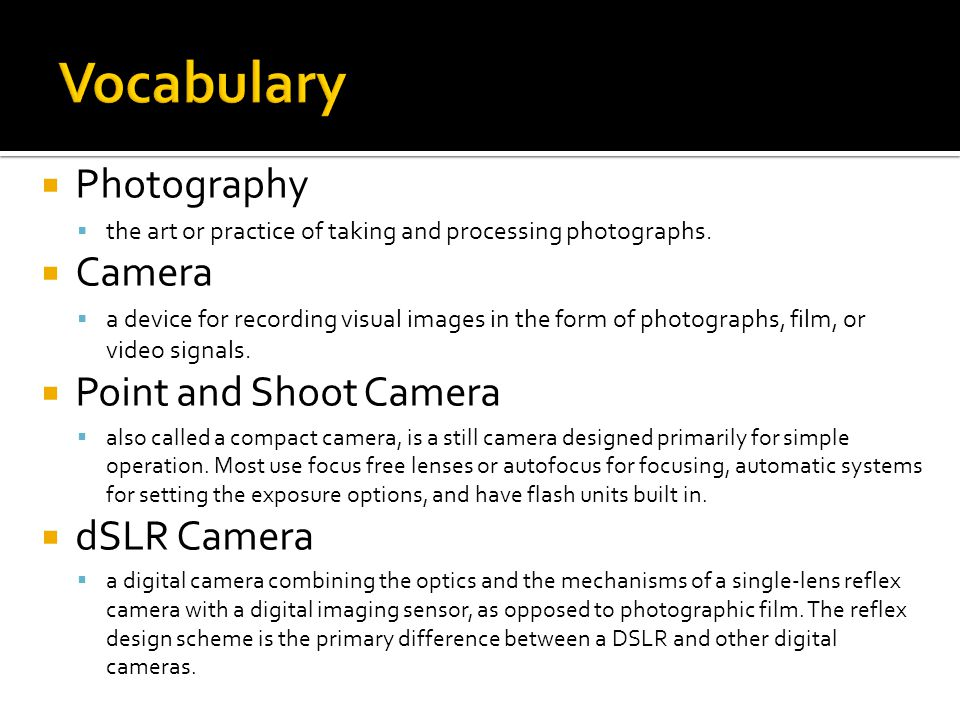  Photography  the art or practice of taking and processing photographs.