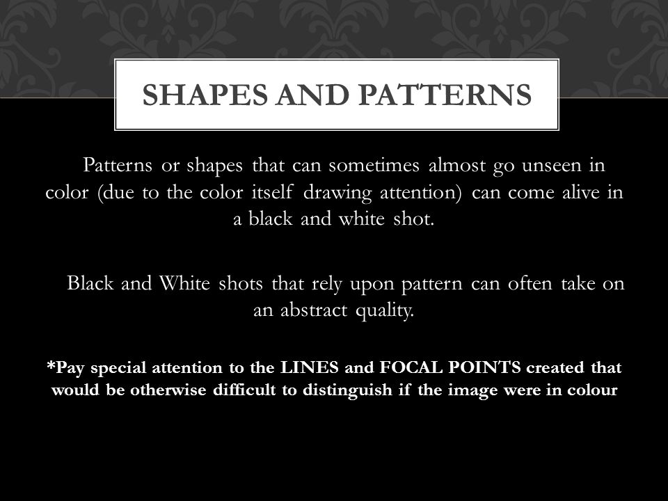 Patterns or shapes that can sometimes almost go unseen in color (due to the color itself drawing attention) can come alive in a black and white shot.