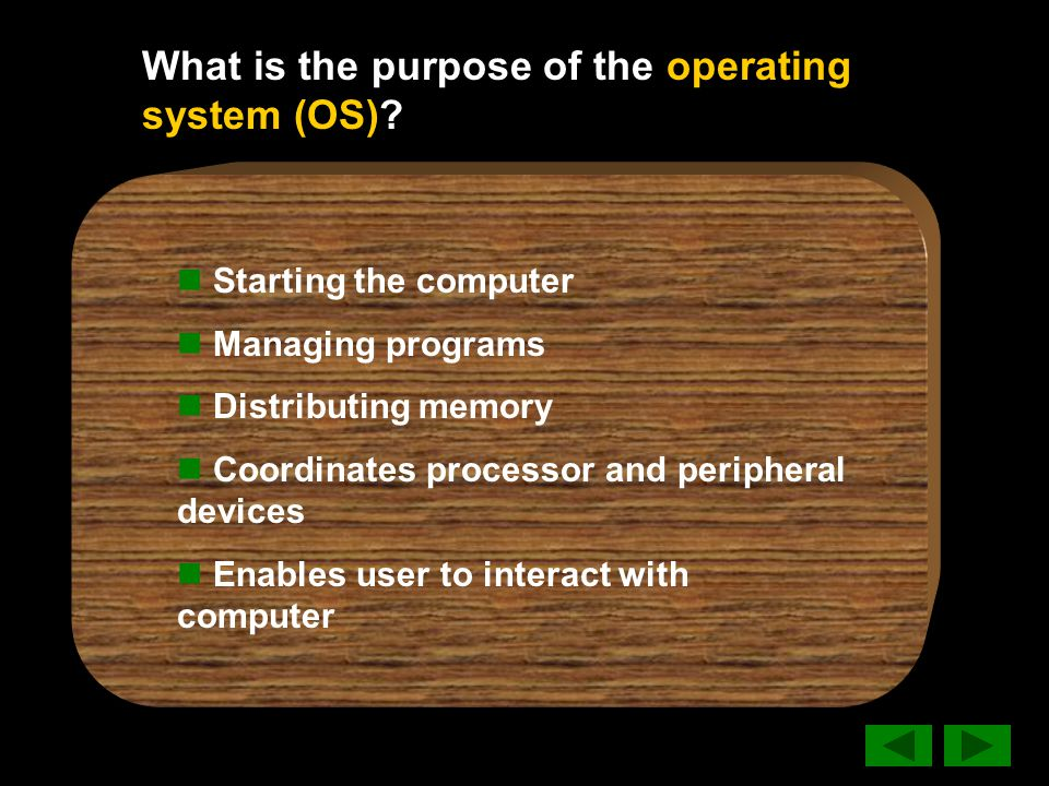What is the purpose of the operating system (OS).