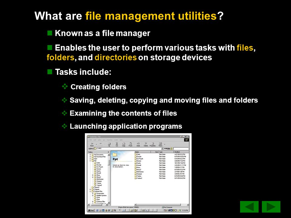 What are file management utilities.