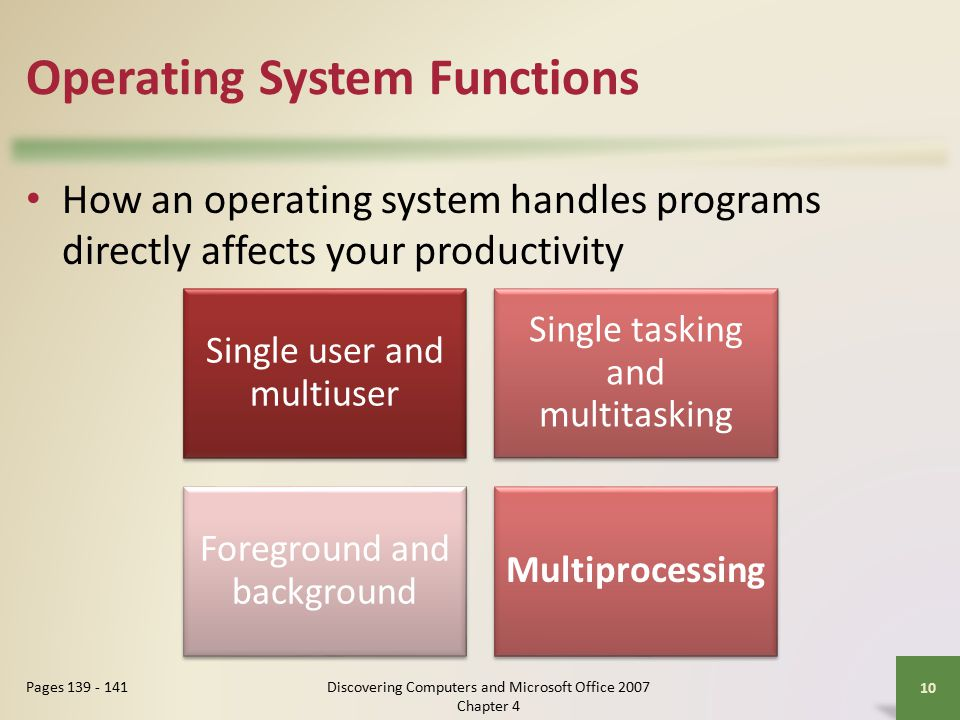 Operating System Functions How an operating system handles programs directly affects your productivity 10 Pages Single user and multiuser Single tasking and multitasking Foreground and background Multiprocessing Discovering Computers and Microsoft Office 2007 Chapter 4