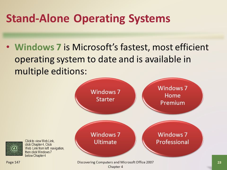 Stand-Alone Operating Systems Windows 7 is Microsoft's fastest, most efficient operating system to date and is available in multiple editions: 23 Page 147 Windows 7 Starter Windows 7 Home Premium Windows 7 Ultimate Windows 7 Professional Click to view Web Link, click Chapter 4, Click Web Link from left navigation, then click Windows 7 below Chapter 4 Discovering Computers and Microsoft Office 2007 Chapter 4