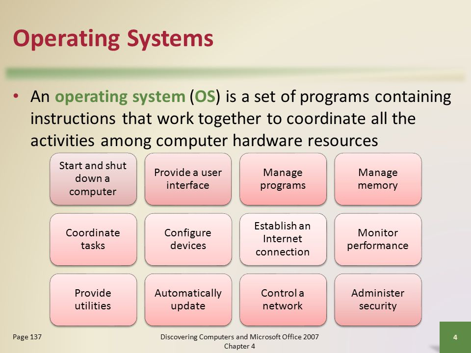 Operating Systems An operating system (OS) is a set of programs containing instructions that work together to coordinate all the activities among computer hardware resources 4 Page 137 Start and shut down a computer Provide a user interface Manage programs Manage memory Coordinate tasks Configure devices Establish an Internet connection Monitor performance Provide utilities Automatically update Control a network Administer security Discovering Computers and Microsoft Office 2007 Chapter 4