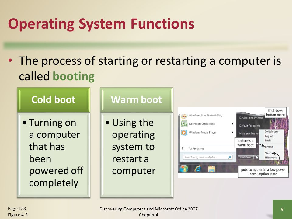 Operating System Functions The process of starting or restarting a computer is called booting 6 Page 138 Figure 4-2 Cold boot Turning on a computer that has been powered off completely Warm boot Using the operating system to restart a computer Discovering Computers and Microsoft Office 2007 Chapter 4