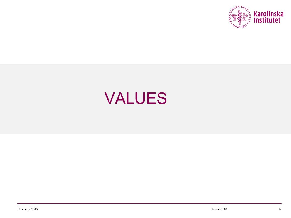 VALUES 5June 2010Strategy 2012