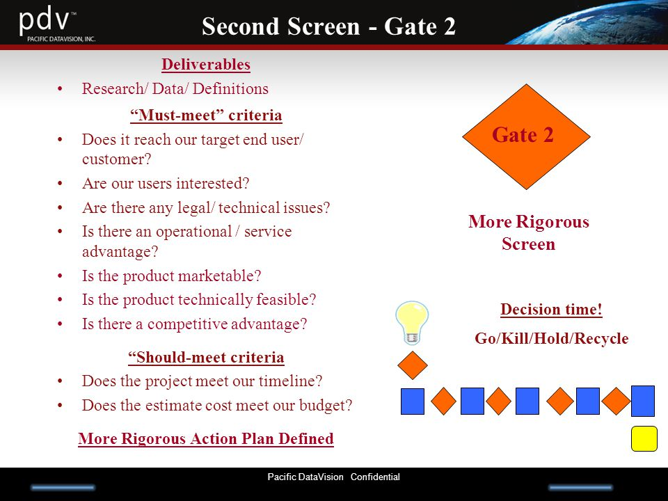 Pacific DataVision Confidential Second Screen - Gate 2 Deliverables Research/ Data/ Definitions Must-meet criteria Does it reach our target end user/ customer.