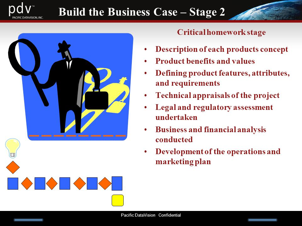 Pacific DataVision Confidential Build the Business Case – Stage 2 Critical homework stage Description of each products concept Product benefits and values Defining product features, attributes, and requirements Technical appraisals of the project Legal and regulatory assessment undertaken Business and financial analysis conducted Development of the operations and marketing plan