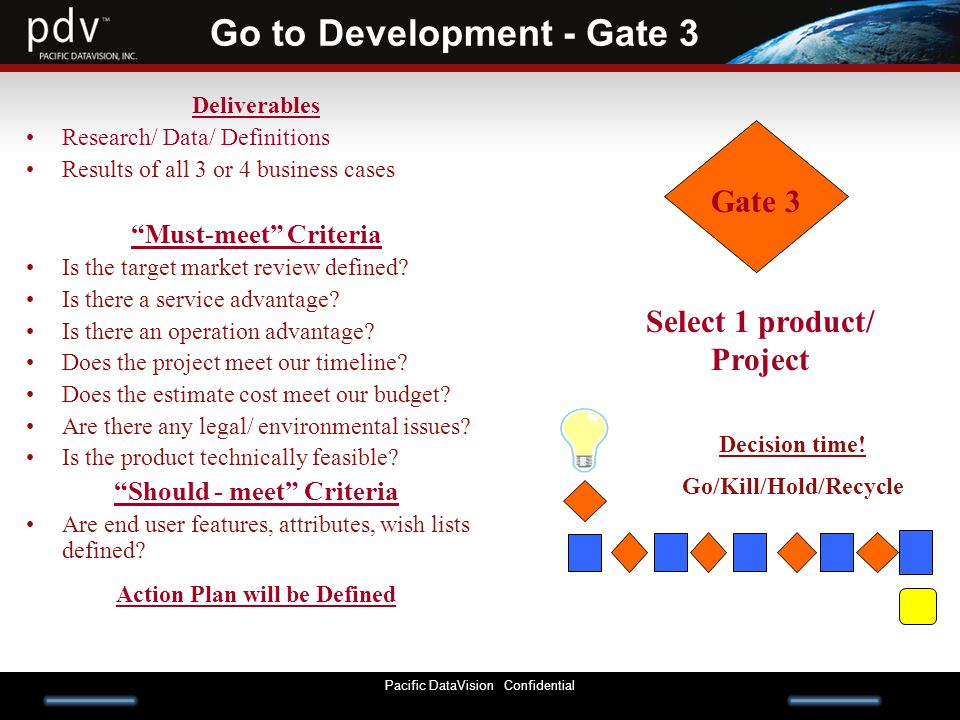 Pacific DataVision Confidential Go to Development - Gate 3 Deliverables Research/ Data/ Definitions Results of all 3 or 4 business cases Must-meet Criteria Is the target market review defined.