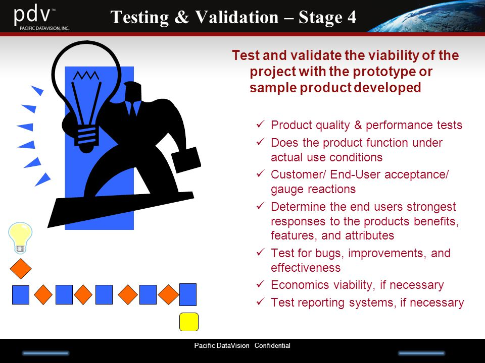 Pacific DataVision Confidential Testing & Validation – Stage 4 Test and validate the viability of the project with the prototype or sample product developed Product quality & performance tests Does the product function under actual use conditions Customer/ End-User acceptance/ gauge reactions Determine the end users strongest responses to the products benefits, features, and attributes Test for bugs, improvements, and effectiveness Economics viability, if necessary Test reporting systems, if necessary
