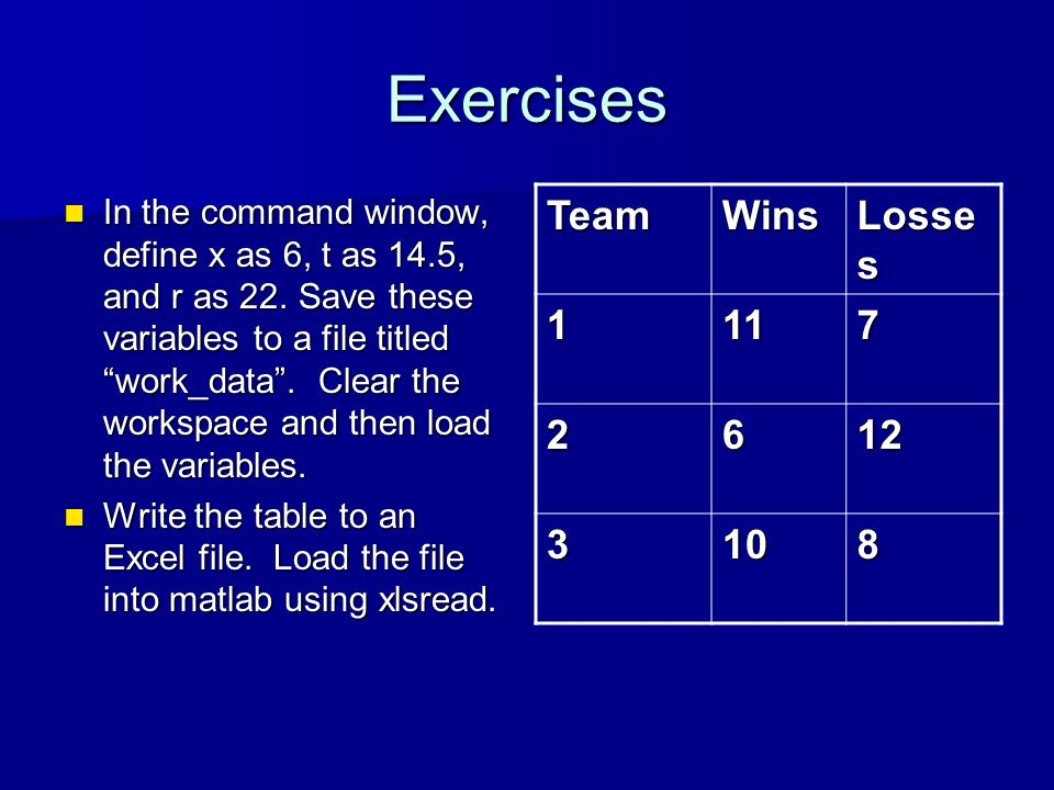 Exercises In the command window, define x as 6, t as 14.5, and r as 22.