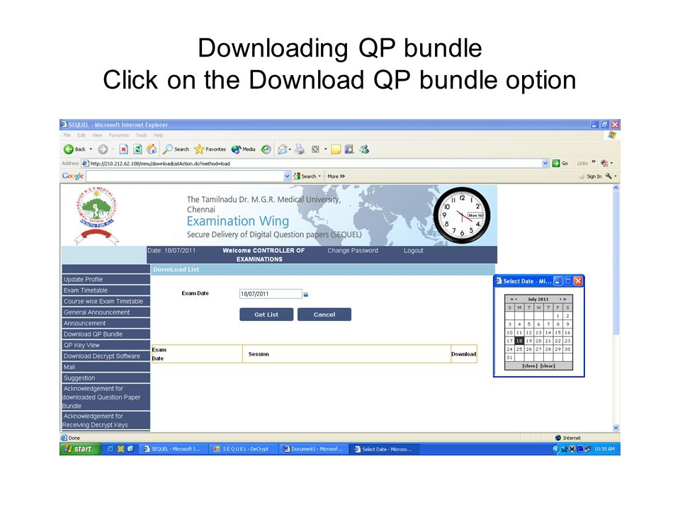 Downloading QP bundle Click on the Download QP bundle option